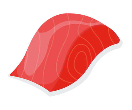 Piece fish tuna salmon, fresh minnow steak tenderloin isolated on white, cartoon illustration. Healthy fat seafood stuff icon, mega 3 food.