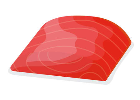 Piece fish tuna salmon, fresh minnow steak tenderloin isolated on white, cartoon illustration. Healthy fat seafood stuff icon, mega 3 food. Vettoriali