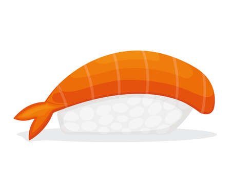 Piece sushi with shrimp and rice, fresh fish isolated on white, cartoon illustration. Omega 3 food, healthy seafood stuff icon.