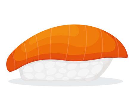 Piece fish tuna salmon with rice, fresh roll sushi isolated on white, cartoon illustration. Healthy fat seafood stuff icon, omega 3 food. Vettoriali