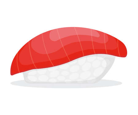 Piece fish tuna salmon with rice, fresh roll sushi isolated on white, cartoon illustration. Healthy fat seafood stuff icon, omega 3 food. 向量圖像