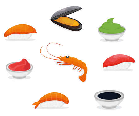 Set of piece fish salmon sushi icon, fresh ocean mussel and shrimp, soy sauce wasabi and ginger cartoon illustration. Asian japanese cuisine concept, omega 3 food, healthy seafood stuff icon. Vettoriali