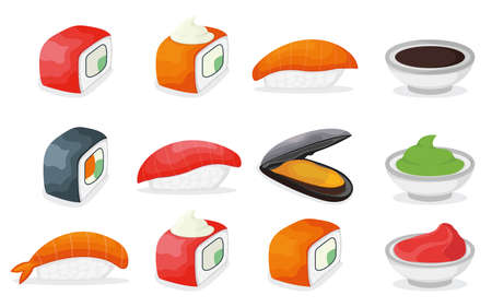 Set of piece fish salmon sushi icon, fresh ocean mussel and shrimp, soy sauce wasabi and ginger cartoon illustration. Asian japanese cuisine concept, omega 3 food, healthy seafood stuff icon. 向量圖像