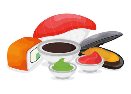 Set of piece fish salmon sushi, fresh tuna minnow with wasabi soy sauce and ginger, ocean mussel cartoon illustration. Omega 3 food, healthy seafood stuff icon. Asian japanese cuisine concept.