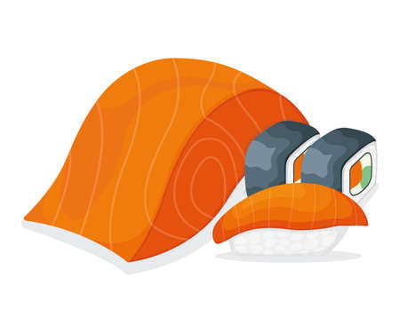 Piece fish salmon, fresh minnow steak tenderloin and sushi isolated on white, cartoon illustration. Omega 3 food, healthy seafood stuff icon. Humpback chunk for grill, asian meal concept. 向量圖像