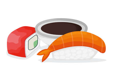 Set of piece fish salmon sushi, fresh tuna minnow with soy sauce, ocean shrimp isolated on white, cartoon illustration. Omega 3 food, healthy seafood stuff icon. Asian japanese cuisine concept.