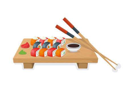 Set of sushi on wooden kitchen board, tuna fish roll and salmon minnow concept isolated on white, cartoon vector illustration. Design asian cuisine stuff, japanese meal idea menu for restaurant, cafe. Vettoriali