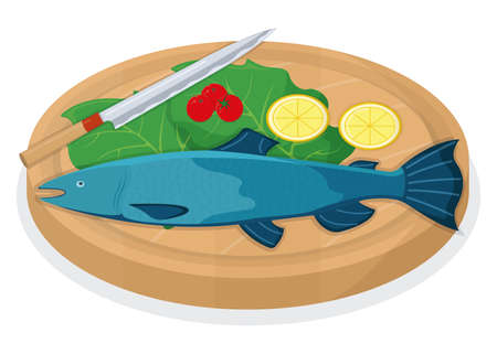 Cut up tuna fish roll and salmon minnow on wooden kitchen board concept isolated on white, cartoon vector illustration. Design preparation seafood, special stuff for cooking, sharp knife slice meat.