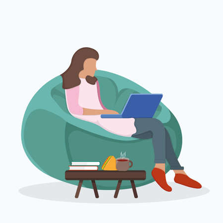 Woman character sitting soft bag chair, female use laptop and study isolated on white, flat vector illustration. Cartoon design concept, girl drink coffee, tea and eat breakfast.