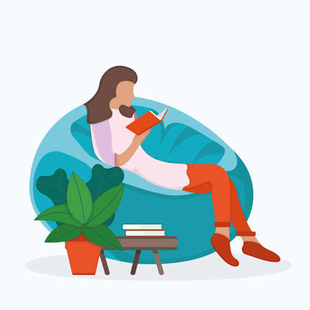Woman character sitting soft bag chair, female read book and study isolated on white, flat vector illustration. Cartoon design concept, girl resting, cozy place with plant green pot.