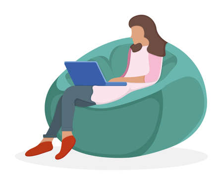 Woman character sitting soft bag chair, female use laptop and study isolated on white, flat vector illustration. Cartoon design concept, remote workplace, girl freelancer. Illustration