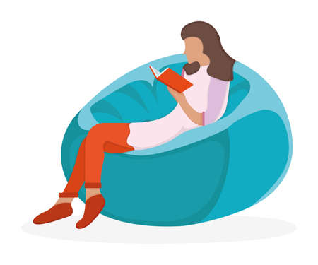 Woman character sitting soft bag chair, female read book and study isolated on white, flat vector illustration. Cartoon design concept, girl resting and research volume stuff.