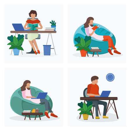 Woman and man sitting workplace table, resting soft bag chair isolated on white, flat vector illustration. Set cartoon design concept, freelancer remote job place office cozy location.