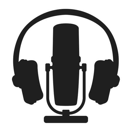 Professional microphone headset radio, online internet streaming podcast concept icon black silhouette simple vector illustration, isolated on white. Voice recording equipment, music listening gear.