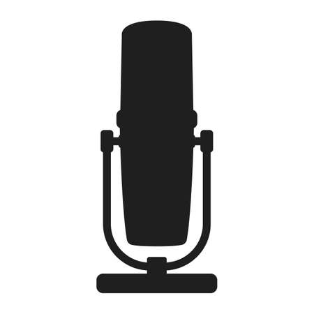 Professional microphone for radio, online internet streaming and podcast concept icon black silhouette simple vector illustration, isolated on white. Voice recording equipment, specialist music gear. Vettoriali