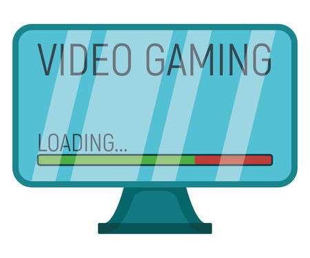 Video gaming concept device professional playing monitor with gamepad icon flat vector illustration, isolated on white. Modern technology, computer screen gear.