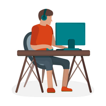 Man character in headset sitting workplace table, male playing gaming computer isolated on white, flat vector illustration. Cartoon design concept, person surfing internet personal computer. Vettoriali