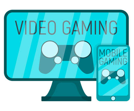 Video gaming concept device professional playing monitor gamepad and mobile gaming icon flat vector illustration, isolated on white. Modern technology, computer screen gear mobile phone, smartphone. Vettoriali