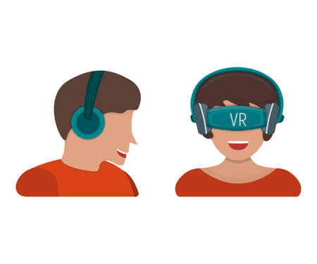 Male in gaming headset and female in virtual reality device with vr glasses isolated on white, flat vector illustration. Concept entertainment modern technology, woman and man character. Vettoriali