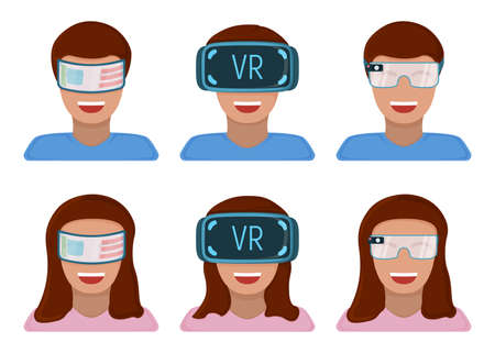 Male and female character in virtual reality glasses, modern technology augmented reality isolated on white, flat vector illustration. Future hardware stuff, people remote communication device.