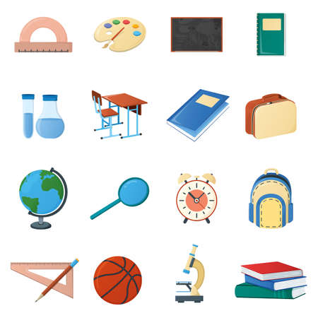 Set of school stuff desk globe, textbook, ruler flask alarm microscope and ball icon isolated on white, cartoon vector illustration. School supplies for study in college institute.