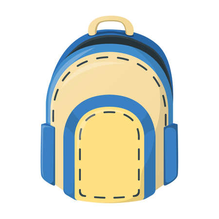 School backpack icon isolated on white, cartoon vector illustration. Welcome back to school supplies for study in college and institute.