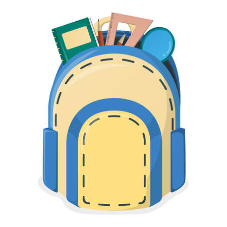 Concept school backpack, study item and stuff magnifying glass, ruler, textbook and pencil isolated on white, cartoon vector illustration. Welcome back to school, educational institution. Vettoriali