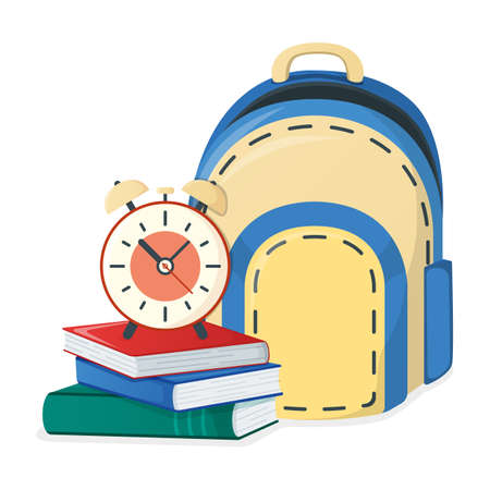 Textbook, school book and backpack, alarm icon isolated on white, cartoon vector illustration. Welcome back to school, supplies for study in college and institute.