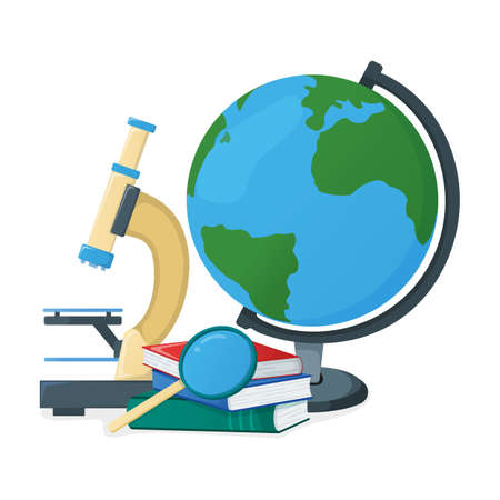 Globe and textbook, school book with magnifying glass, microscope icon isolated on white, cartoon vector illustration. Welcome back to school supplies from backpack for study in college and institute.