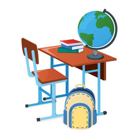 School desk with textbook, school backpack and globe icon isolated on white, cartoon vector illustration. Welcome back to school supplies for study in college and institute.