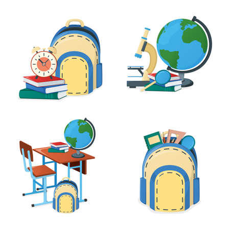 Set of concept back to school icon, desk with backpack, textbook, globe and training material for study isolated on white, cartoon vector illustration. School supplies and equipment.