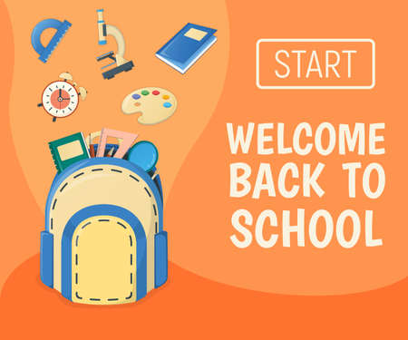 Web banner concept back to school, supplies for study in college and institute isolated on white, cartoon vector illustration. Backpack with item alarm, textbook globe and microscope.
