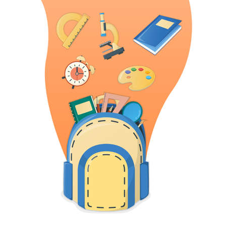 Concept poster back to school, supplies for study in college and institute isolated on white, cartoon vector illustration. Backpack with item alarm, textbook globe and microscope. Vettoriali