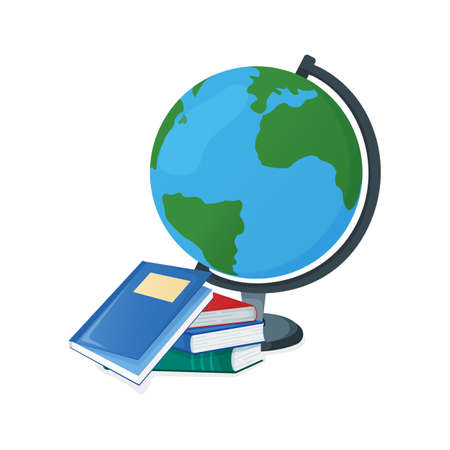 Globe and textbook, school book icon isolated on white, cartoon vector illustration. Welcome back to school, supplies from backpack for study in college and institute.