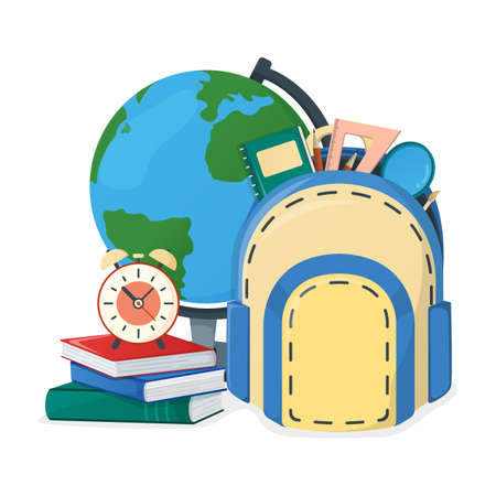 Globe and textbook, school book and backpack, alarm icon isolated on white, cartoon vector illustration. Welcome back to school, supplies for study in college and institute.