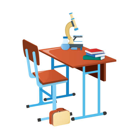 School desk with textbook, school microscope and scientific flask icon isolated on white, cartoon vector illustration. Welcome back to school supplies for study in college and institute.
