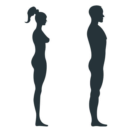 Male and female human character, people man woman view side body silhouette, isolated on white, flat vector illustration. Black mannequin people scale concept.