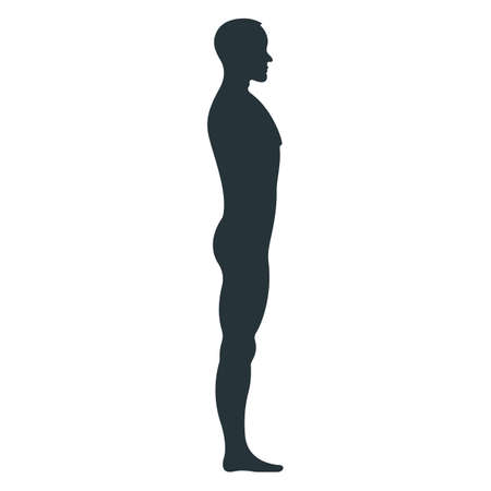 Male human character, people man view side body silhouette, isolated on white, flat vector illustration. Black mannequin people scale concept.