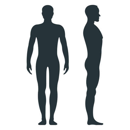 Male human character, people man front and view side body silhouette, isolated on white, flat vector illustration. Black mannequin people scale concept. Vettoriali