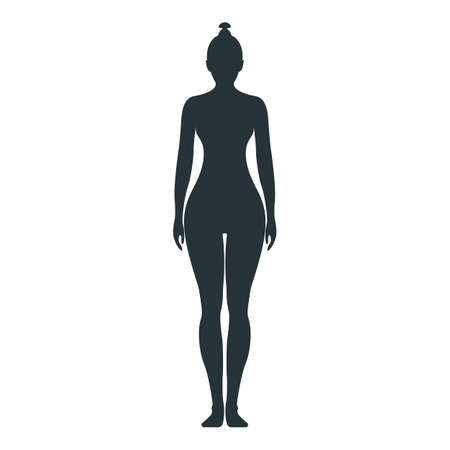 Female human character, people woman front side body silhouette, isolated on white, flat vector illustration. Black mannequin people scale concept. Vettoriali