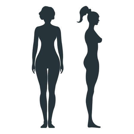 Female human character, people woman front and view side body silhouette, isolated on white, flat vector illustration. Black mannequin people scale concept. Vettoriali