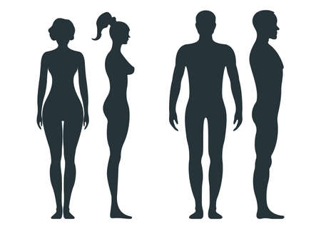 Male and female human character, people man woman front and view side body silhouette, isolated on white, flat vector illustration. Black mannequin people scale concept.