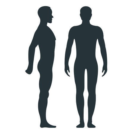 Male anatomy human character, man people dummy front and view side body silhouette, isolated on white, flat illustration. Black person mannequin people scale concept.