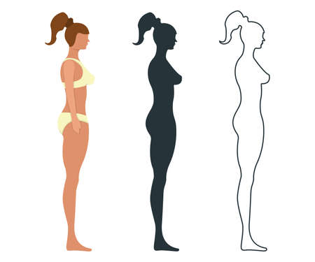 Female anatomy human character, people dummy front and view side body silhouette, isolated on white, flat illustration. Black, outline and cartoon mannequin people scale concept. Vettoriali