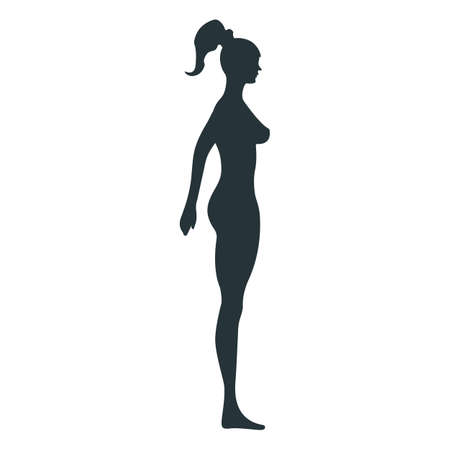 Female anatomy human character, woman people dummy front and view side body silhouette, isolated on white, flat illustration. Black man person mannequin people scale concept. Vettoriali