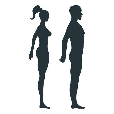 Female and male anatomy human character, woman man people dummy front and view side body silhouette, isolated on white, flat illustration. Black person mannequin people scale concept.