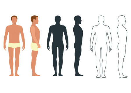 Male and female anatomy human character, people dummy front and view side body silhouette, isolated on white, flat vector illustration. Black, outline and cartoon mannequin people scale concept.