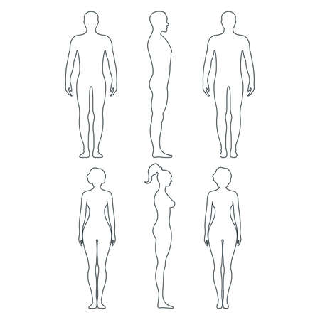 Male and female anatomy human character, people dummy front and view side body silhouette, isolated on white, flat illustration. Black and outline mannequin people scale concept. Vettoriali