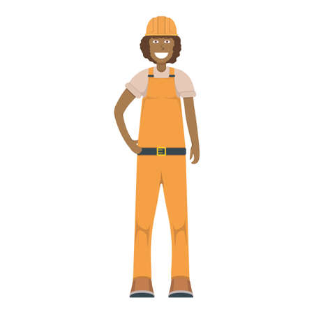 Character workman standing isolated on white, flat vector illustration. Human female important hard worker professional activity, smiling people profession, social occupation. Illustration