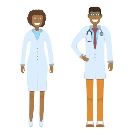 Character doctor standing isolated on white, flat vector illustration. Human male and female important physician professional activity, smiling people profession, social occupation. Vettoriali